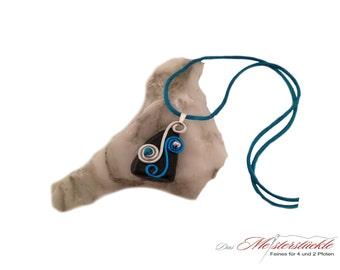 Necklace turquoise blue Aluschmuck unique