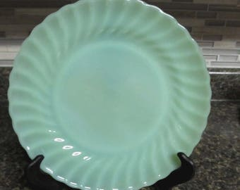 "Fire-King-Jadite-Shell-Swirl-Dinner-Plate- 10"" Excellent-Condition-Scarce"