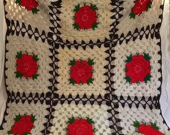 Flowered Afghan Crochet Red Rose Afghan Throw Granny Square