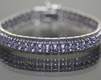 Sterling Silver 925 natural oval Violet Tanzanite double row Bracelet 23.76ctw
