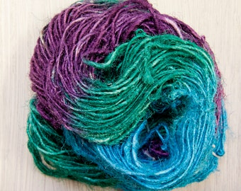 Hand Painted Sari Silk Chunky Yarn Summer Garden Series Worm Goo in Four Colors by Pen and Hook