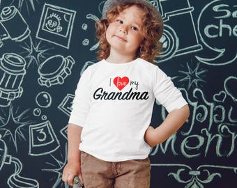 I LOVE MY GRANDMA or Custom Name Infant Toddler Baby Youth Boys Girls Grandma Was Here Favorite Grandma
