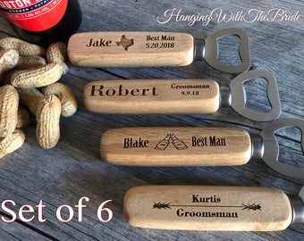 Set of 6 Personalized Bottle Opener, Groomsmen Gift, Wedding Gift, Engraved Wood opener, Custom Bottle Opener, Christmas gifts