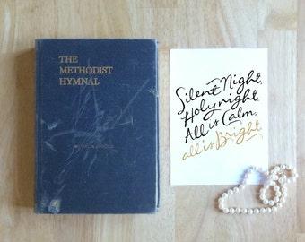 "Silent Night, Holy Night  |  5x7"" Calligraphy Print (Digital Download), Christmas Print, Holiday Decor, Christmas Decor, Hymn Art Print"