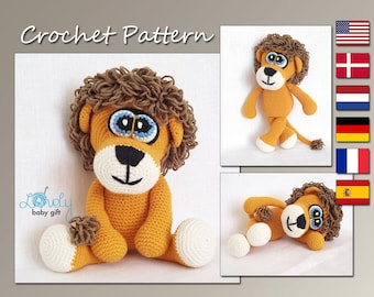 Amigurumi Pattern, Crochet Animal Pattern, Lion Amigurumi Crochet Pattern, Stuffed Toy, CP-119