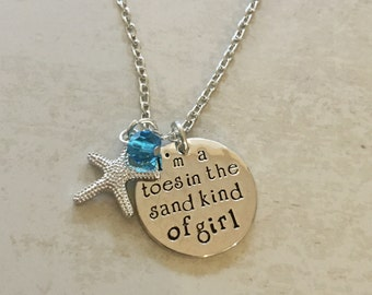 Toes in the Sand Kind of Girl necklace - starfish - beach charm - ocean jewelry