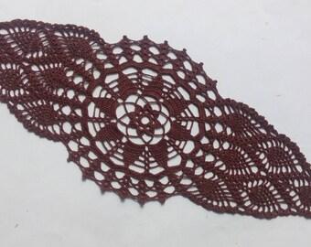hand crochet doily, brown doily, runner