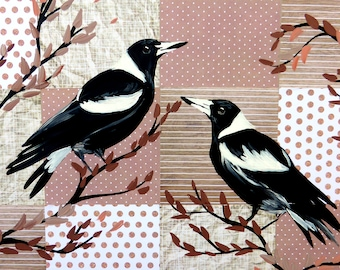magpie, magpies, australian, art, from, australia, artist, paintings, of, birds, painting, art, 2, couple, of, card,brown, black, white, tan