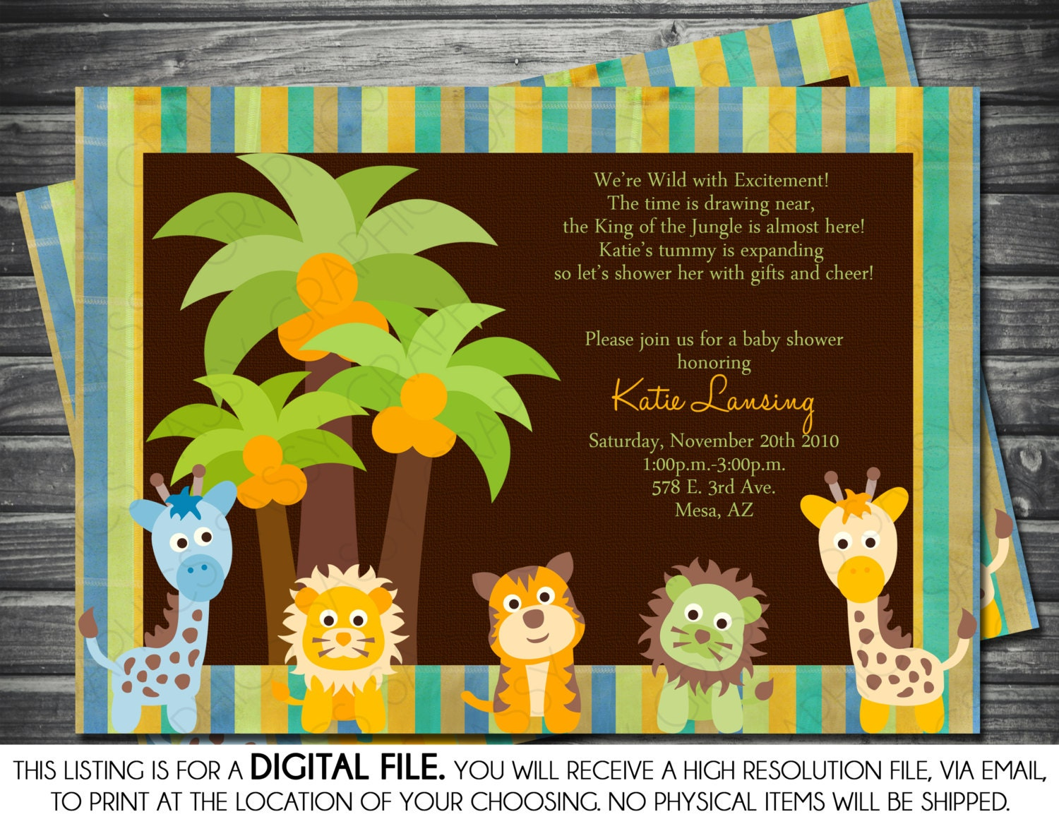 Boy Baby Shower Invitation Safari Theme Giraffe Lion