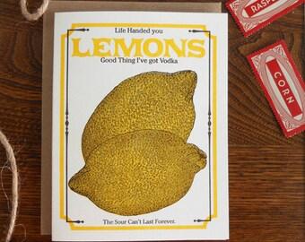 letterpress life handed you lemons good think i've got vodka greeting card farmers market vegan vegetarian vintage lemon seed packet sour