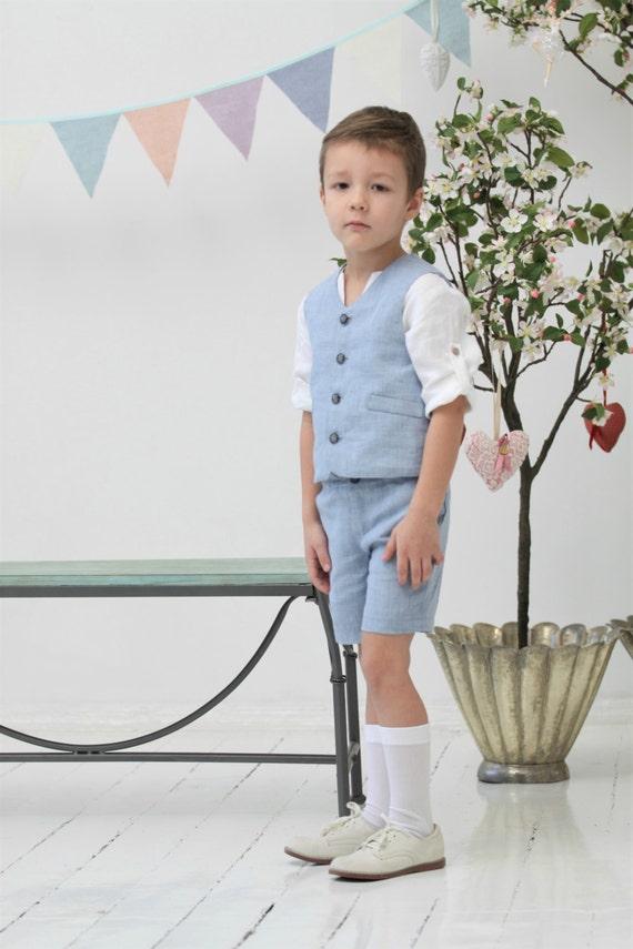 Boys linen suit Ring bearer suit Toddler boy vest and shorts