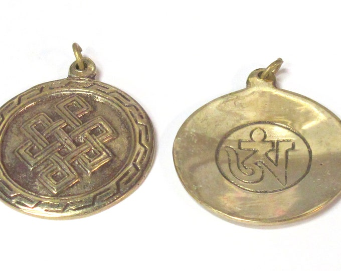 1 Pendant - Tibetan brass infinity knot endless knot symbol with reverse side om mantra pendant from Nepal - CP139