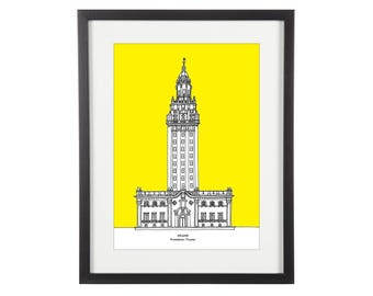 Miami Freedom Tower | Miami Print | Miami Illustration | Freedom Tower Print | Miami Landmark | Architectural Print