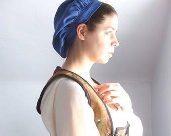 renaissance muffin cap hat medieval caul blue linen renaissance faire -ready to ship-
