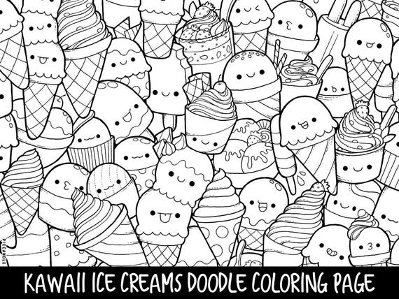 Ice Creams Doodle Coloring Page Printable CuteKawaii