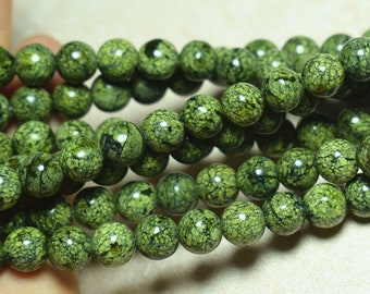 8 mm russian Serpentine Gemstone Loose Beads Round Serpentine, 15 inches  Full Strand