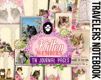 Travelers Notebook - Kitten Memoirs - 11 Printable Midori Insert Pages - travellers notebook, fauxdori insert, junk journal kit