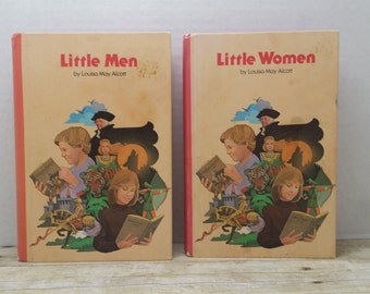 Little Men and Little Women Set, 1979, Louisa May Alcott, vintage kids book, book set