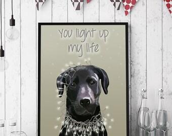 Black Labrador Print - Light up my life - Black Labrador Art, labrador retriever print labrador decor black lab wall art gift labrador lover