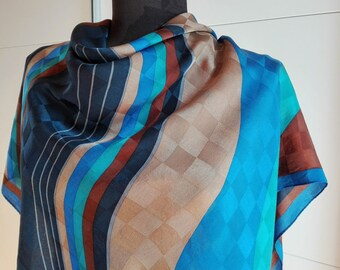 Vintage Silk Scarf - Square Scarf - Abstract print scarf - blue