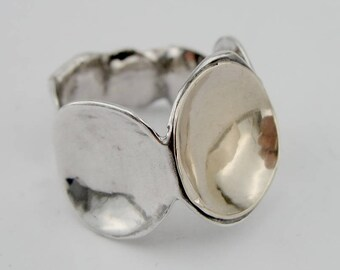 Hadar Jewelry  Israel Art 925 Sterling Silver Yellow Gold 9k Ring size 8, Handmade, Gift, Birthday  (h 108g)