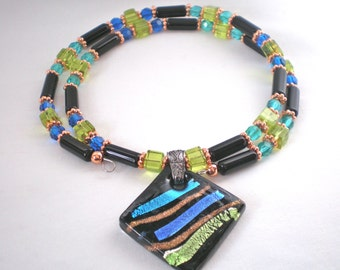 Black, Green, and Blue Memory Wire Necklace, Glass Choker, Glass and Copper Necklace, Reduced Price