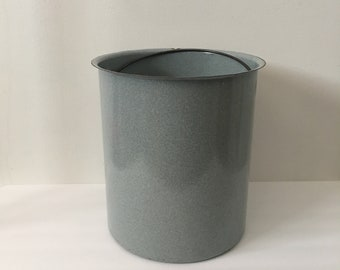 French Country Enamel Bucket Tall Gray Slate Blue Fine Speckled Enamelware Vintage Farmhpuse Kitchen Interior Bail