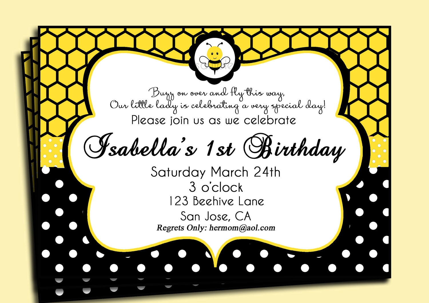 Bumble Bee Birthday or Baby Shower Invitation Printable or