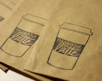 Rustic Favor Bags or Gift Bags with Thanks a Latte Stamp | Medium Size Rustic Bags | Size 4x6 Inches |  Thank You Stamp | Set of 10 Bags