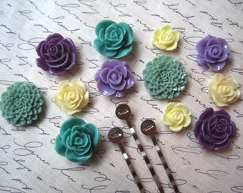 DIY Hair Accessory, 24 pcs Flower Cabochons with Bobby Pins in Purple, Green and Cream, Resin Roses, Dahlias, Sakura, DIY Gifts
