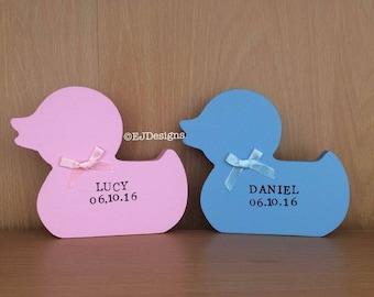 Free standing duck, baby shower gift, baby gift, baby keepsake