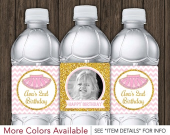 Tutu Birthday Water Bottle Labels - Printable Ballerina Birthday Party Decorations - DIY Digital File