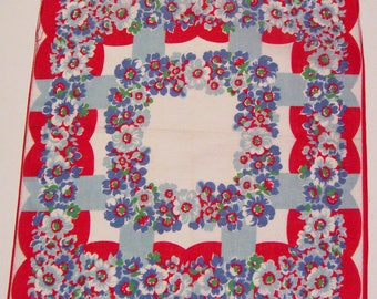 Vintage Red White Blue Floral Hankie