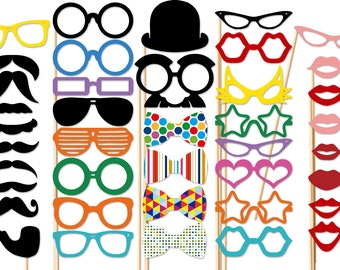 Wedding Photo Booth Props - 40 Piece Photo Booth Props Set