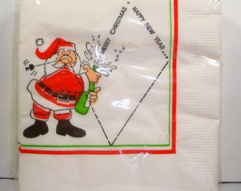 Christmas Paper Napkins, 30 2-Ply Beverage Napkin, Paper Art, Merry Christmas, Happy New Year, Holiday Party Supplies, Santa Claus  (645-15)