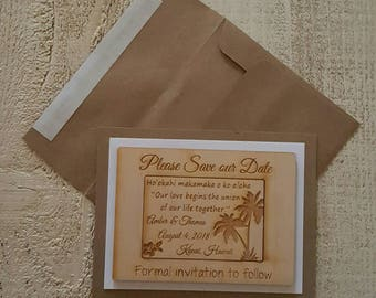 Save the Date Magnets with Frame and Envelope, Hawaii Wedding Favor, Qty 10, Bride, Groom, Wedding Favour,