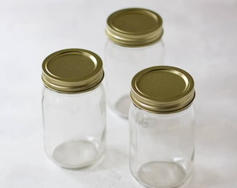 Glass Mason Jar with Gold Metal Lid