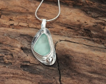 Sterling Sea Glass Pendant, Sea Glass Jewelry, Lake Jewelry, Seaglass Etsy, Sea Glass Pendant, Sea Glass Gift