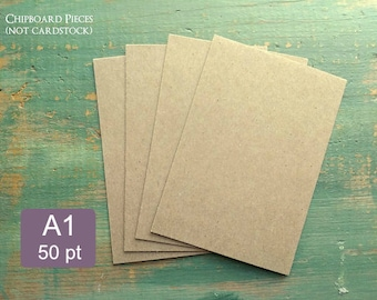 "25 A1 Chipboard Pieces, 50 pt .050"" Recycled Chipboard, 3 1/2 x 4 7/8"" (89x124mm) or 3.5x5"", thick chipboard penny thickness kraft brown 1mm"