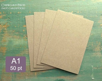"""25 A1 Thick Kraft Brown Chipboard Pieces, 50pt (0.050""""), 100% Recycled, 3 1/2 x 4 7/8"""", 3.5 x 5"""", or 3 x 5"""", Penny or ~1mm Thick Chip Board"""