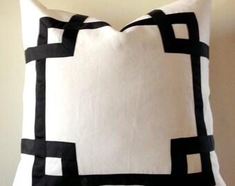 Greek Key Fretwork White Linen with Black-  Pillow Cover