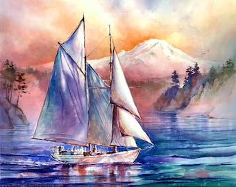 Setting Sail in the Puget Sound -Watercolor Painting Print by Michael David Sorensen. Sailing. Sailboat. Orange. Blue. Purple. Mt. Rainier.