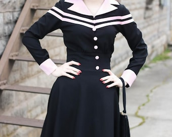 Agent Carter cosplay swing dress striped custom made
