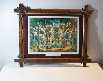 Vintage Cross-Bar Mahogany Frame/A Home In the Country