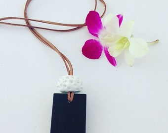 Handmade Wooden and Clay Pendant Necklace - Black and White