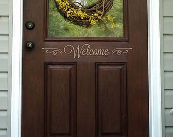 Welcome Door Decal - Welcome Decal - Front Door Decal - Etched Glass Vinyl Decal - Welcome Sign - Front Door Decor - Front Door Decal