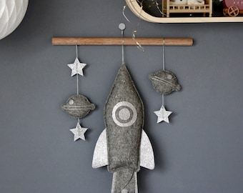 Space Nursery Mobile, Rocket Baby Mobile, Space Wall Decor, Planets, Kids Wall Decor, Nursery Room, Boys Room Decor, Boy baby Mobile