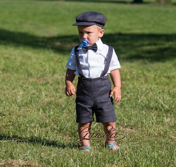 Newsboy ring bearer outfit Baby boy linen suit Rustic wedding