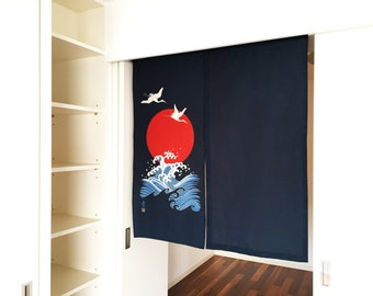 Crane blue curtain, Japanese noren order made, blue noren curtain, japanese fabric, japanese tsuru noren, wall tapestry, wall fabric panel