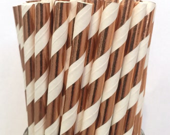 2.85 US Shipping -Rose Gold Foil Paper Straws - Rose Gold Straws - Rose Gold Cake Pop Sticks - Drinking Straws